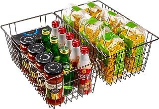 SANNO Storage Organizer Bin Basket,Household Wire Drawer Organizer Tray, Food Storage for Kitchen Cabinets, Pantry, Close...