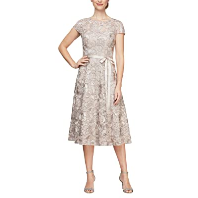 Alex Evenings Short Sleeve Lace A-Line Tea Length Dress Women