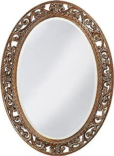Howard Elliott Suzanne Oval Hanging Wall Mirror, Ornate Scroll Pattern Resin Frame, Antique Gold Leaf, 27 x 37 Inch