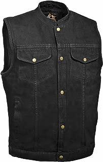 Men's SOA Denim Vest w/ 1 Inside Concealed Weapon Gun Pockets (X-Large, Black Denim)