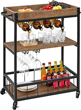 kealive Bar Cart for Home Mobile Metal Wood Wine Cart Rolling on Wheels with Handle Rack, Glass Holder, 4 Hooker Removable Wood Box Container, Rustic Bar Serving Cart, 31.1L x 15.7W x 35.4H