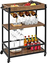 kealive Bar Cart for Home Mobile Metal Wood Wine Cart on Wheels with Handle Rack, Glass..