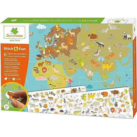 Sycomore-CRE7033 Mosaïques Autocollantes 5 Maxi Tableaux Mousse repositionable-Stick & Fun-Loisir créatif Enfant-Dès 3 Ans, CRE7033, Animaux-Cartes du Monde