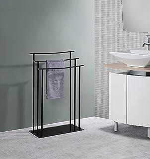 Kings Brand Furniture - Silfax 3 Tier Metal/Glass Freestanding Bathroom Towel Rack Stand, Black