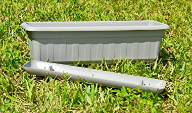 "Premium High-Density Plastic Planter & Flower Window Box Gina 18"" Set of 2 Units (Cement Color)"