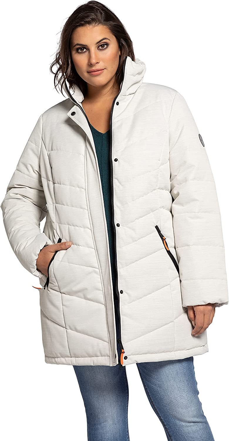 Ulla Popken Womenswear Plus Size Curvy Oversize Water Repellent Quilted Fully Lined Jacket 750568