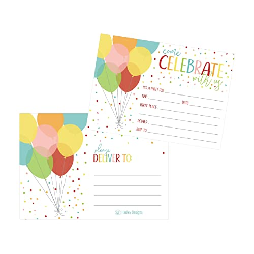 25 Rainbow Balloon Party Invitations For Kids Teens Adults Boys Girls