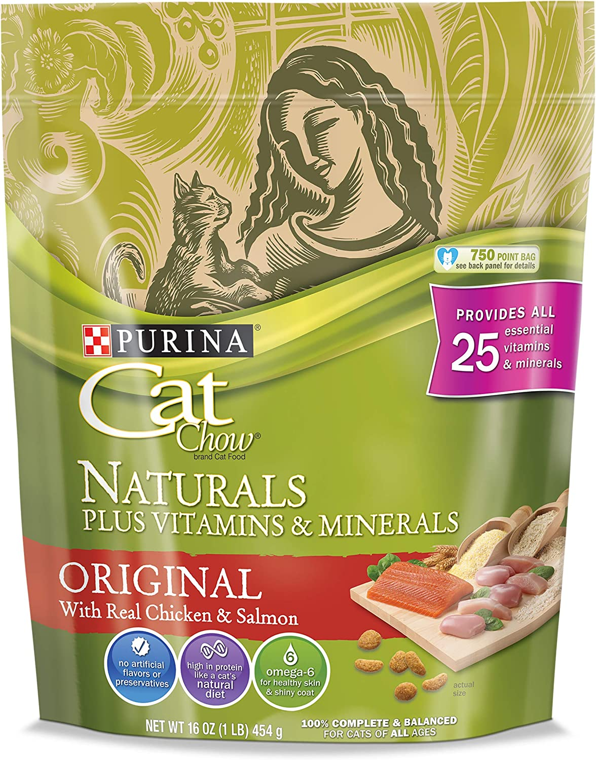 Purina Cat Chow Dry Cat Food, Naturals, 16 Ounce Pouch, Pack of 6