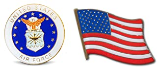 Patriotic U.S. Air Force & American Flag Lapel Hat Pin & Tie Tack Set with Clutch Back by Novel Merk,White,Medium