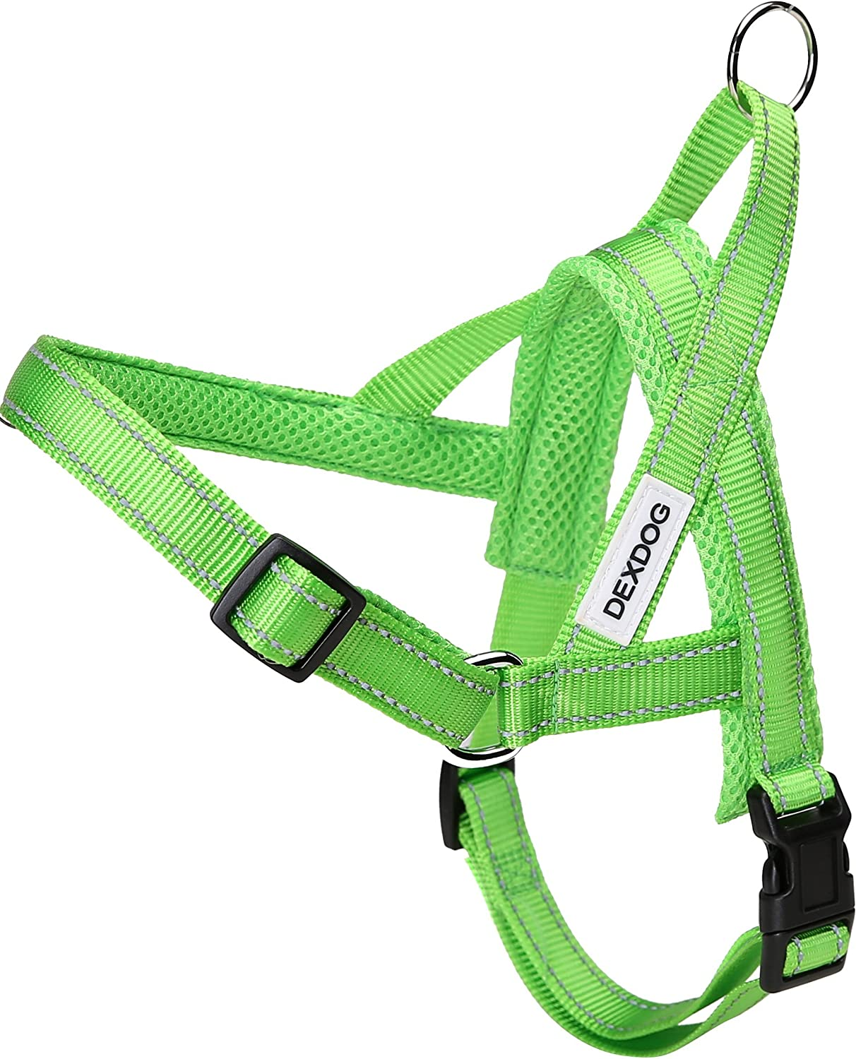 DEXDOG  1 Best Dog Harness  EZHarness On Off Walk in Seconds  [Green Large L]  Easy Quicker Step in Dog Harness Vest  Puppy No Pull Reflective Mesh Handle Adjustable Training