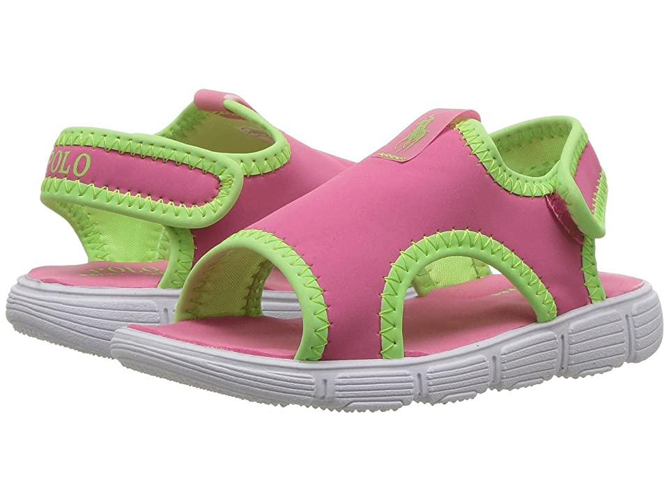 Polo Ralph Lauren Kids Kanyon (Toddler) (Pink/Lime Green Stretch/Lime Green Pony Player) Girl