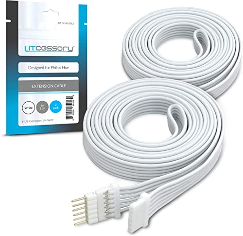 Litcessory Extension Cable for Philips Hue Lightstrip Plus (1m, 2 Pack, White)
