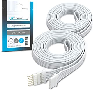 Litcessory Extension Cable for Philips Hue Lightstrip Plus (1m, 2 Pack, White - Micro 6-PIN V4)