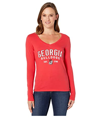 Champion College Georgia Bulldogs University Long Sleeve V-Neck Tee (Scarlet) Women