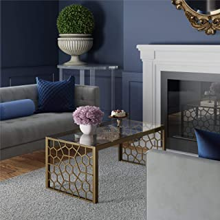 CosmoLiving by Cosmopolitan DA8170 CosmoLiving Juliette Top, Soft Brass, Tempered Glass Coffee Table