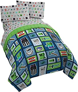 Jay Franco Minecraft Monster Hunters 4 Piece Twin Bed Set - Includes Reversible Comforter & Sheet Set - Bedding Features C...