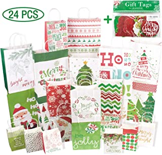 Assorted Christmas Gift Bags 24 Count Set with Christmas Gift Tags 60 Count (15 Assorted Glitter, Foil, Printed Designs)