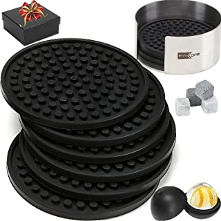 Coasters For Drinks 8 Pack In Sophisticated Stainless Steel Holder, Deluxe Bar Accessories Bonus Set With A Gift Box Contain Ice Ball Mold, 4 Whiskey Stones - Have Fun At Party And Protect Furniture