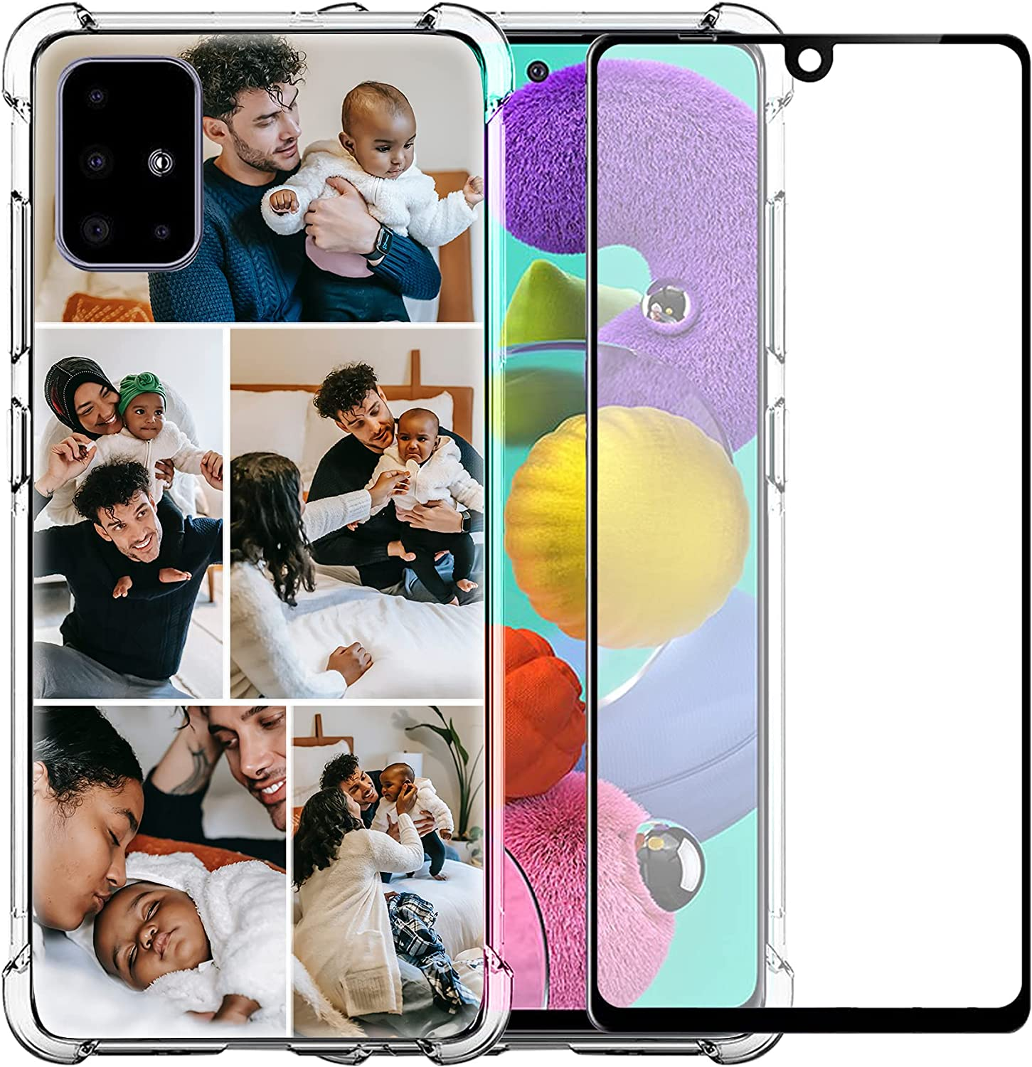 Customized Samsung Galaxy A51 5G Case,Clear Shockproof Bundle Phone Cover with 1Pack Screen Protector for Ladies,for Girls,for Women,for Mother,for Men(Shockproof Layout 5 Pictures)