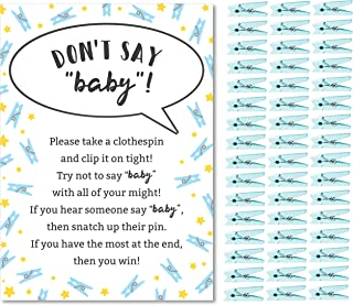 Don't Say Baby Game for Boys Baby Shower Clothespin Game Includes One 5x7 Sign and 48 Mini Blue Clothespins