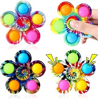 Gigilli Pop Fidget Spinner Toys 4 Pack, Tie Dye Simple Fidget Popper Spinners Set, Push Bubble Fidget Toys Popping Hand Po...