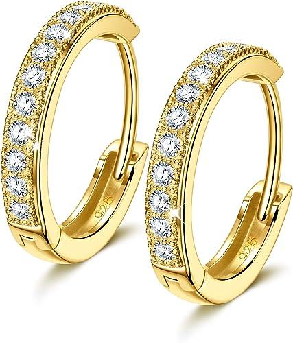 NINAMISS Boucles D'oreilles Femmes Créoles en Argent Sterling 925 pour Femmes, Cadeau de Fête des Mères /Diamètre15mm...