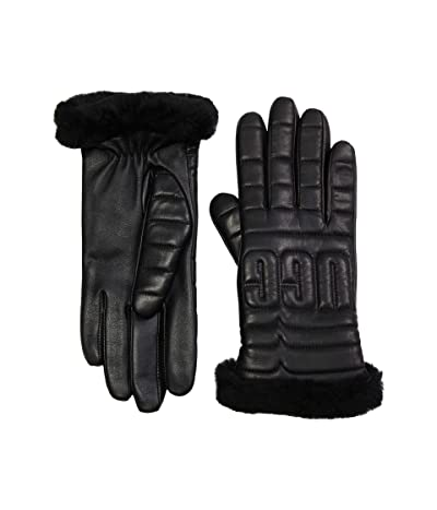 UGG Leather Quilted Logo Gloves with Conductive Tech Palm (Black) Extreme Cold Weather Gloves