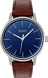 HUGO by Hugo Boss Men's Stainless Steel Quartz Watch with Leather Strap, Brown, 20 (Model: 1530076)