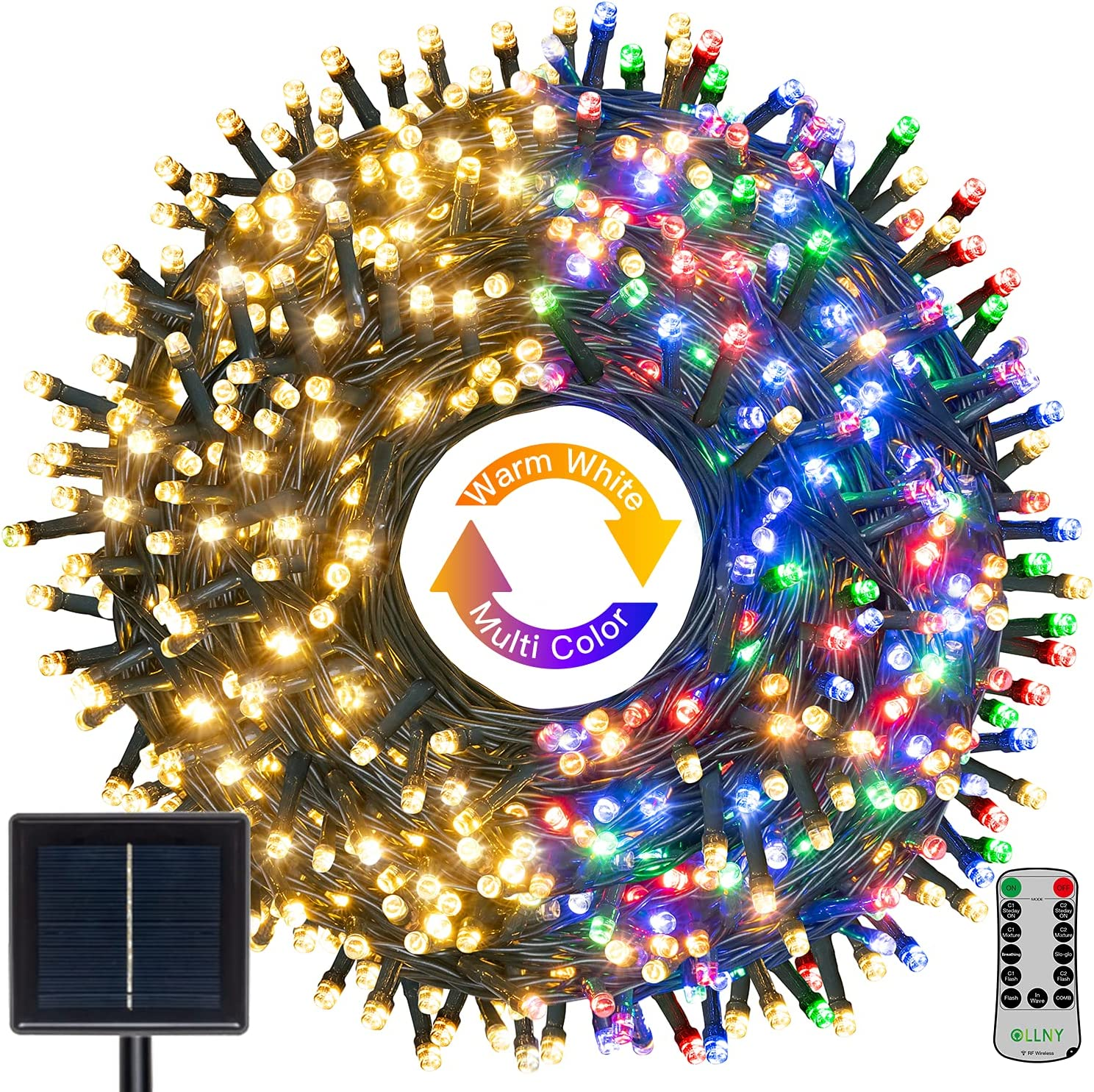 Solar String Lights Outdoor Waterproof, Ollny 300 LED 98FT Christmas Fairy Lights with 11 Lighting Modes, Warm White & Colors Changing Solar Powered Twinkle Lights for Holiday Patio Garden Party Decor