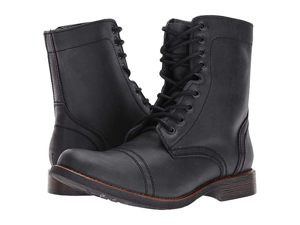 1950s Mens Shoes: Saddle Shoes, Boots, Greaser, Rockabilly Steve Madden Troopah-C Black Mens Lace-up Boots $130.00 AT vintagedancer.com