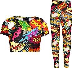 Kids Girls Wow Bang Boom Crop T Shirt Top Legging Lounge Wear Outfit Set 7-13 Yr