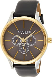 Akribos Multifunction Chronograph Men's Watch - 3 Sub-Dials Complications On Genuine Leather Watch - AK870