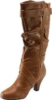 Women's Maggie-39 Leatherette Buckled Kitten Heel Slouchy Shaft Mid-Calf Dress Boots