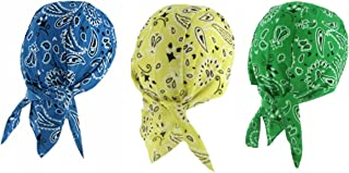 Assorted Skull Cap Set Doo Rags with SWEATBANDS Paisley Yellow Blue Green