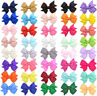 40PCS 2.4 Inches Baby Girls Hair Bows Clips Small Hair Barrettes Accessories for Babies Infant Toddlers Kids in Pairs.(LDZ44)
