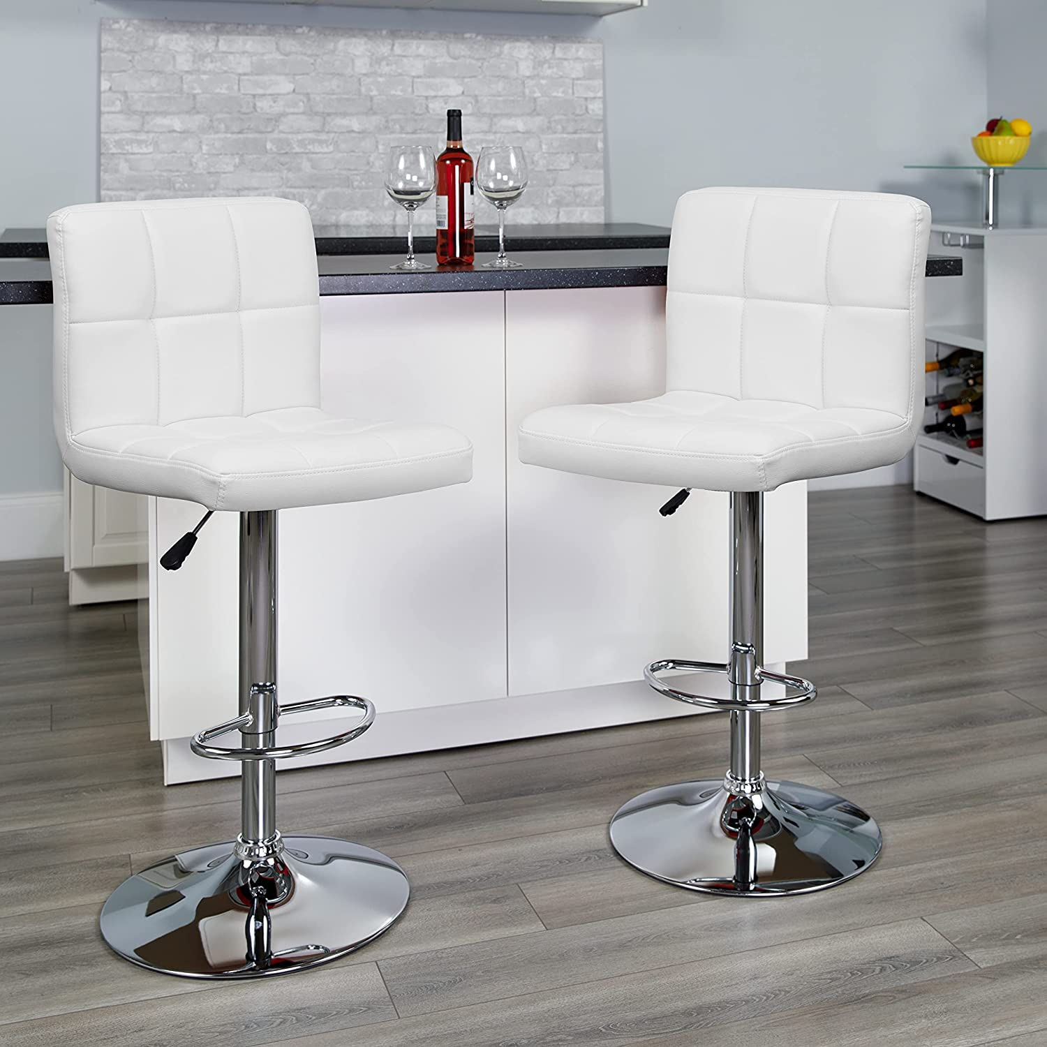 Flash Furniture 2 Pack Contemporary White Quilted Vinyl Adjustable Height Barstool with Chrome Base
