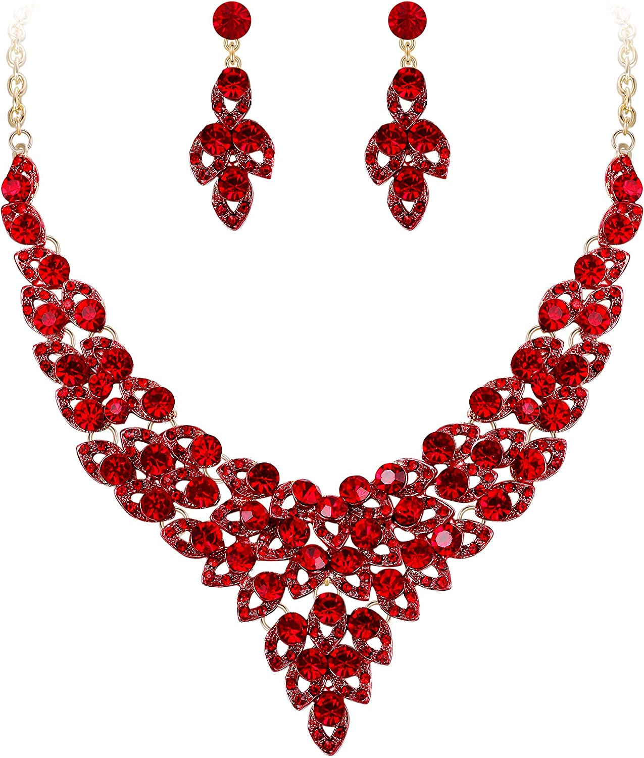 EVER FAITH Women's Austrian Crystal Luxury Hollow Leaves Wedding Engagement Necklace Earrings Set