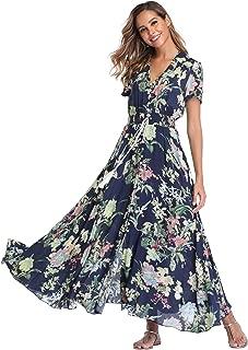 Women's Floral Maxi Dresses Boho Button Up Split Beach...