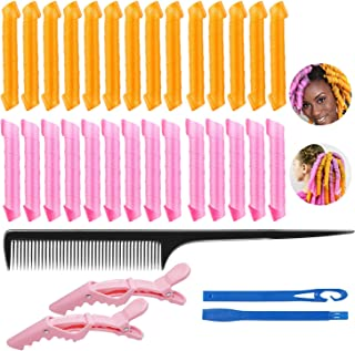 28Pcs Spiral Hair Rollers, Magic Hair Curlers No Heat DIY Waves Rollers with Styling Hooks Alligator Hair Clips Comb, Magi...