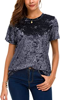 Women's Crew Neck Velvet Top Short Sleeve T-Shirt