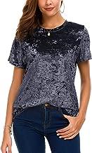 Women's Crew Neck Velvet Top Short Sleeve T-Shirt