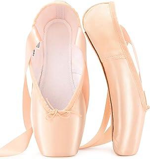 Chaussures de Ballet de Pointe Chaussures de Danse Professionnelles Roses avec Ruban Cousu et Coussinets en Silicone pour ...
