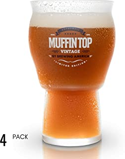 Muffin Top Nucleated Beer Glasses - Tulip Shape and Nucleation for better Aroma - Pint Glass size - Great for IPAs and Cider (Muffin Top Logo 4-Pack)