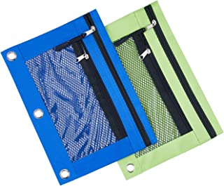 3 Rings Binder Pencil Pouch with Black Dismountable Zipper Puller, Pencil Case with Double Pocket and Mesh Window (Blue&Green 2pack)