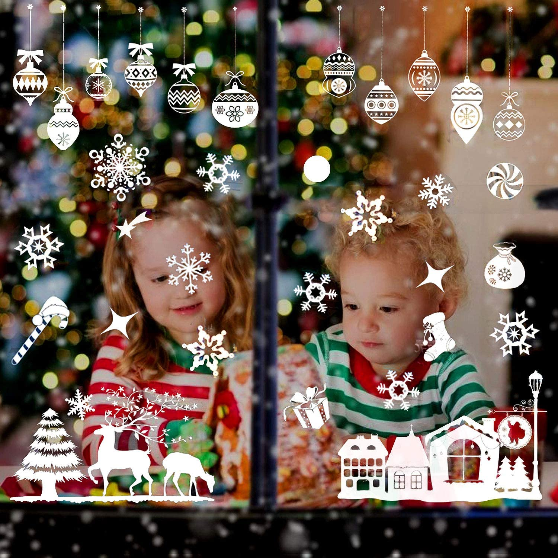WELLXUNK/® Pegatinas Ventanas Navidad A Pegatinas de Navidad Adornos Decoracion Navidad Pegatinas Copo Nieve Est/ática Pegatina Pegatinas Ventana de Cristal Pegatina Calcoman/ía de Ventana