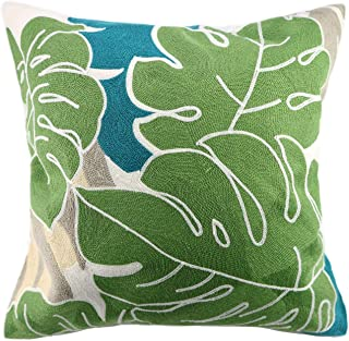 Hodeco Embroidery Throw Pillow Cover Tropical Leaves 18x18 Inches Decorative Floor Pillow Cover for Couch 100% Cotton Cush...