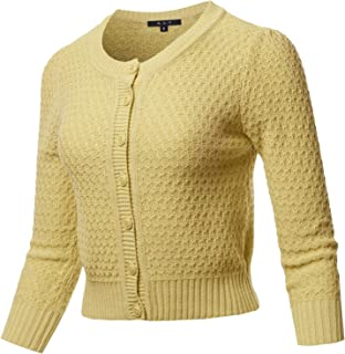 A2Y Women's Solid Cropped 3/4 Sleeve Button Down Crew Neck Knit Cardigan Sweater
