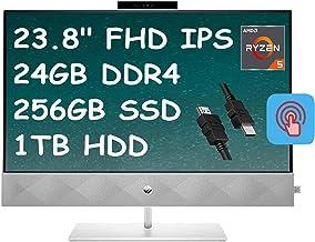 "2021 Flagship HP Pavilion 24 All-in-One Desktop Computer 23.8"" FHD IPS Touchscreen AMD Hexa-Core Ryzen 5 4600H (Beats i7-9..."