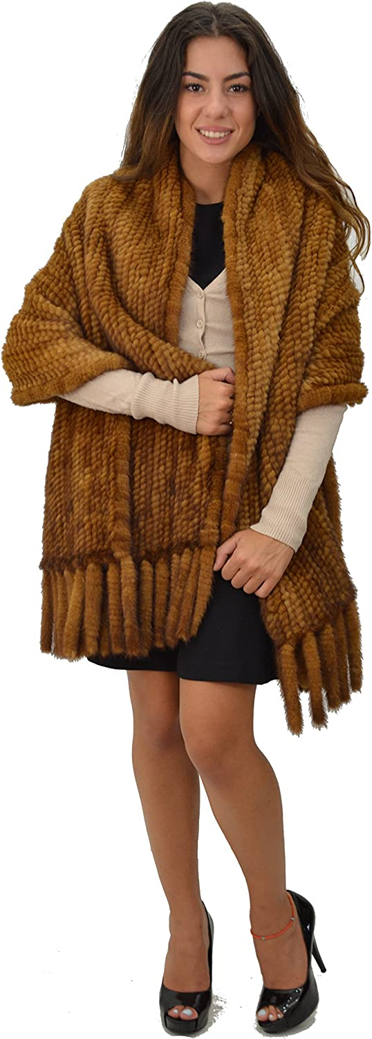Mink Knitted Fur Shawl & Extra Large Scarf