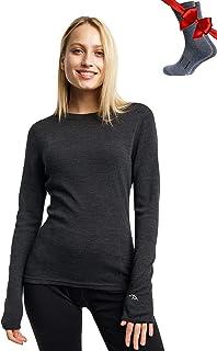 Merino Wool Base Layer Women 100% Merino Wool Midweight Long Sleeve Thermal Shirts + Merino Wool Hiking Socks